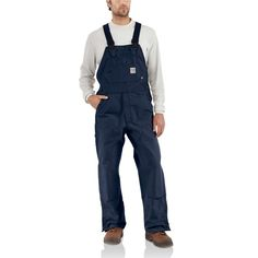 Carhartt Size X Dark Navy Cotton/Duck Flame-Resistant Bib Overalls With Zipper Closure - Ankle-To-Above Knee Brass Leg Zippers With Nomex Fr Zipper Tape - Protective Flaps With Arc-Resistant Snap Closures Carhartt Overalls, Denim Overalls, Work Coveralls, Work Attire, Suspenders, Black Cotton, Work Wear, Clothes, Dark Navy