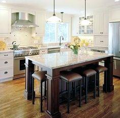 Kitchen Island With Seating For 6, Kitchen Island Table, Large Kitchen Island, Kitchen Islands, Kitchen Peninsula, Home Design, Diy Design, Diy Kitchen, Kitchen Decor