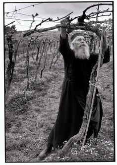 "Constantine Manos. Greece. Crete. 1964. Priest tending his vineyard. ""A Greek…"