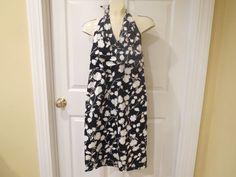 Donna Ricco New York Halter Dress Size 4 Black/White Simple Floral Pattern #DonnaRicco #HalterSun #Casual