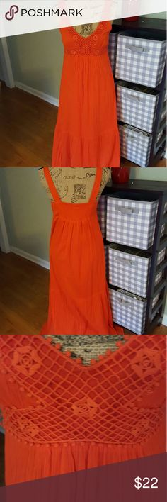 """JULY 4TH SALE! Old Navy boho gauze maxi dress In excellent condition.  Old Navy dress. Bright orange color.  Gauze fabric completely lined.  Deep v-neckline crocheted bodice,  empire style,  smocked back. Wide shoulder straps.  Perfect dress for cookout or parties. Very bohemian,  hippie.   Measurements are length 53"""", bust 35"""".  5 Old Navy Dresses Maxi"""