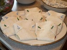 Diaper quesadillas for baby shower