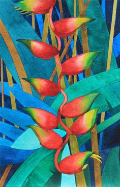Art Original Watercolor Painting of Tropical LOBSTER CLAW Heliconia