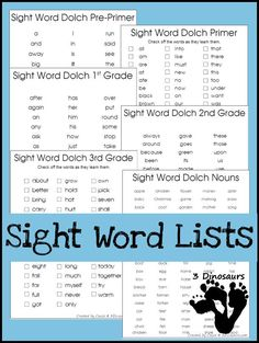 Sight Word Dolch Lists Dolch list for Pre-Primer, Primer, First Grade, Second Grade, Third Grade and Nouns. - Third Third or may refer to: Dolch Sight Words Kindergarten, Dolch Sight Word List, Dolch List, Sight Words List, First Grade Sight Words, Sight Word Practice, Sight Word Activities, Kindergarten Reading, Second Grade