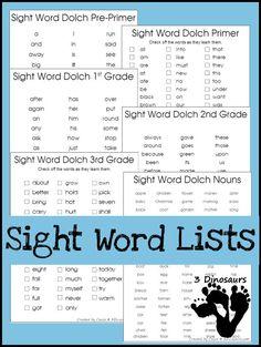 Dolch list for Pre-Primer, Primer, First Grade, Second Grade, Third Grade and Nouns. - 3Dinosaurs.com
