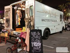 A women's boutique on wheels! The Trendy Truck sells clothing, jewelry and even has a dressing room inside. Pictures to prove it on the blog.