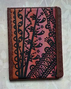 Knightwork: Playing with Clay: Polymer Clay Zentangle Journal Cover - the beads that she made with the scraps are pretty cool, too