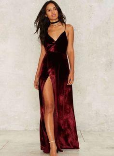 Women's V Neck Backless Velvet Prom Dress - OASAP.com