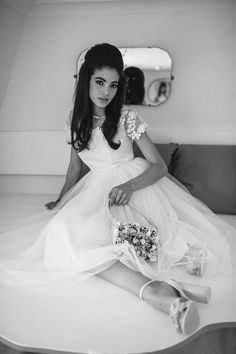 Wedding Poses Elvis and Priscilla Presley Styled wedding shoot with lace wedding dress, veil taken by Lisa Devlin - Magpie Wedding share a black and white alternative wedding shoot based on the wedding of Elvis and Priscilla Presley in the Princess Wedding Dresses, Wedding Dress Styles, 1960s Wedding Dresses, Wedding Colors, Priscilla Presley Wedding, Elvis Presley, Wedding Poses, Wedding Shoot, Lace Wedding