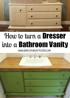 DIY:: Save Money Repurpose !! How to turn a Dresser into a Beautiful Bathroom Vanity !! Excellent (anyone can follow-Great For Beginners to Pros) -Photo step by step Tutorial !!! by @Ashley Walters Walters @ Domestic Imperfection