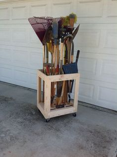 Picture of Long Tool Organizer Cart made with CNC-plywood -Brooms, Rakes, Shovels...