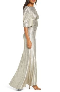Eliza J Capelet Sleeve Ruched Evening Gown Evening Gowns Online, Capelet, Old Hollywood, Cold Shoulder Dress, Nordstrom, Glamour, Sleeves, Wedding, Dresses