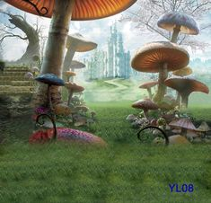 Thin Vinyl Photography Backdrop Mushroom And Castle Pattern Photo Studio Background High Quality Backdrops For Sale 5x7ft YL08 from Jiabeitrade,$23.62 | DHgate.com