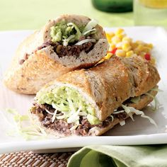 Tijuana Torta - This torta has all the flavor and the fillings of your favorite taco. As a vegetarian version, it's stuffed with mashed beans, salsa, pickled jalapeño and shredded cabbage.
