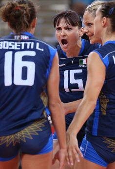 Day Three - JULY 30: Italy players celebrate winning a point in the Women's Volleyball Preliminary match between Italy and Japan on Day 3 of the London 2012 Olympic Games at Earls Court on July 30, 2012 in London, England. (Photo by Elsa/Getty Images)