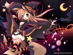 50 Anime Halloween, Happy Halloween, Cat Ears, Neko, Witch, Wallpaper, Cats, Catgirl, Kid