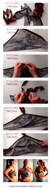 Blusas DIY sin coser, con un par de pañuelos