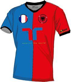 Frankreich - Albanien l France - Albania kurzarm Trikot mit Wunschnamen und Wunschnummer