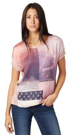 T-Shirt mit Foto-Collagen-Print für Frauen (unifarben mit Print, kurzärmlig mit Rundhals-Ausschnitt) - TOM TAILOR