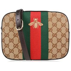 Gucci Gg Bee Shoulder Bag ($685) ❤ liked on Polyvore featuring bags, handbags, shoulder bags, dark brown, leather shoulder bag, green leather purse, leather purses, gucci purses and handbags purses