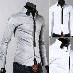 Casual False Tie Slim Fit Stylish Long Sleeve shirt Men's