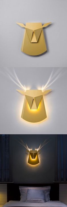 Popup Lighting Elegant Aluminium Wall LED Light Deer Head Fixture Electricity Plug in Gold