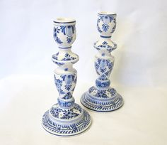 Pair of Blue and White Hand Painted Delft Candlesticks, Delft Candleholders, Signed by TheWhistlingMan on Etsy