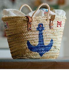 Capazo mediano de doble asa con estampado de ancla azul marino, de Las Pepis Carraspio (45 euros). http://www.marie-claire.es/moda/accesorios/fotos/por-fin-nos-compramos-cestas-de-playa/las-pepis-carraspio