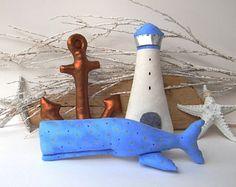 Nautical baby boy set. Anchor, Lighthouse, Whale by #cherrygardendolls #whale #nautical #toys #baby #anchor #coastal