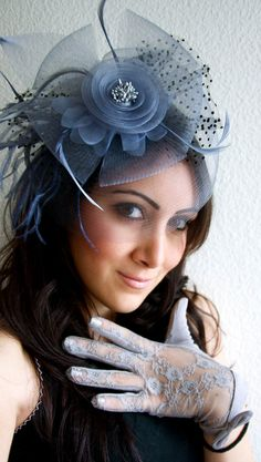 Blue Gray Fascinator - Blue Gray Mesh Fascinator Hat Headband. $58.00, via Etsy.