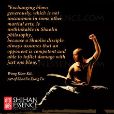 Exchanging blows generously, which is not uncommon in some other martial arts, is unthinkable in Shaolin philosophy, because a Shaolin disciple always assumes that an opponent is competent and able to inflict damage with just one blow. WONG KIEW KIT, Art of Shaolin Kung Fu