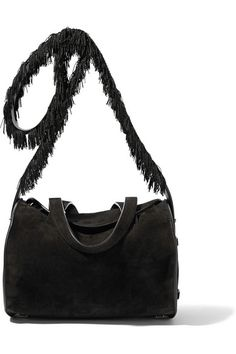 0d67e55ac25e The Row - Drum fringed textured leather-trimmed suede shoulder bag