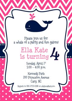 Navy and Hot Pink Whale Party Invitation by sweetbirdiesnest, $28.00