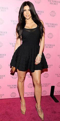 Who made kim kardashian s black dress nude mary jane pumps and gold