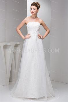 Sheath/Column Strapless Floor-Length Satin Wedding Dress WD010641
