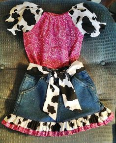 Bandana and Cow Print Peasant top and Jean by BittyBabesandBeaus, $37.00