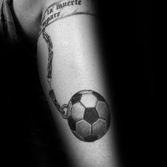 Chain And Ball Mens Soccer Leg Tattoos