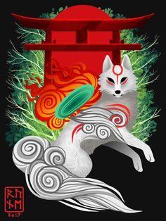 A Floating Island in the Sky — runeowldraws: Okami T-Shirt Design Commission Japanese Mythology, Beautiful Dark Art, Amaterasu, Mythical Creatures Art, Wolf, Japanese Aesthetic, Kokoro, Floating Island, Kawaii