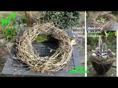 DIY: Spring Deco: Wreath tie with twigs quick & easy I krans maken I make a twig wreath - YouTub Twig Wreath, Door Wreaths, Burlap Wreath, Easter Wreaths, Christmas Wreaths, Des Fleurs Pour Algernon, Diy Spring Wreath, Fleurs Diy, Diy Décoration