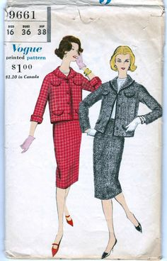 60s Vogue jacket and skirt suit, vogue pattern 9661, Bust 36 inches, Waist 28…