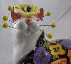 "Whimsiclay Pansy X-Large 15"" Cat Figurine Amy Lacombe New 