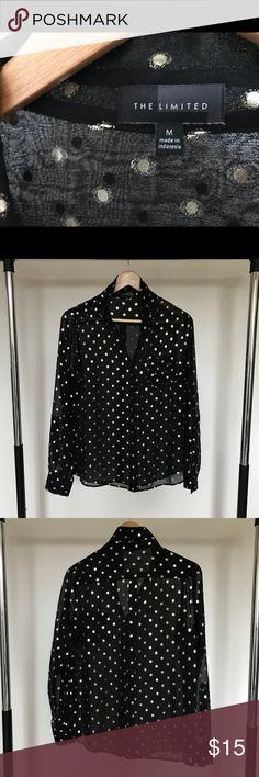 The Limited Sheer Patterned Blouse Black sheer blouse with gold pattern The Limited Tops Blouses