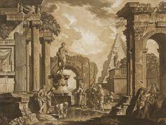 Abel Schlicht  (Germania, 1724 - 1826) : Capriccio architettonico con rovine classiche e personaggi.  - Asta Stampe e Disegni - Libreria Antiquaria Gonnelli - Casa d'Aste - Gonnelli Casa d'Aste