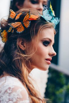 Over The Rainbow Butterfly Boho Flower Crown by VivaDelfina