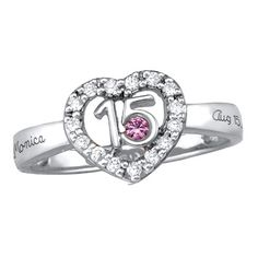 Sterling Silver Quinceneara Birthstone Ring with Cubic Zirconia Accents by ArtCarved® - Zales
