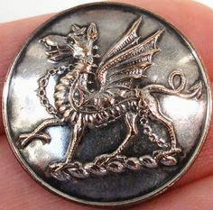 Antique Livery Button Chained Collared Dragon Passant Crest of Lowther | eBay