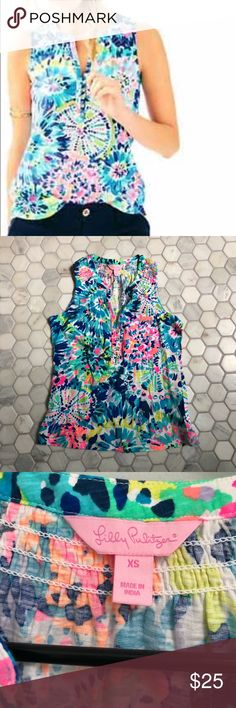 Lilly Pulitzer Essie top XS Like new condition Lilly Multi Dive-in print top for sale. Open to reasonable offers. Lilly Pulitzer Tops Tank Tops