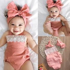 Details about Newborn Baby Girls Romper Jumpsuit Bodysuit Infant Headband Clothes Outfits Set, Baby Girl Romper, Cute Baby Girl, Baby Girl Newborn, Cute Babies, Baby Boy, Babies Stuff, Baby Bodysuit, Baby Girl Fashion, Toddler Fashion