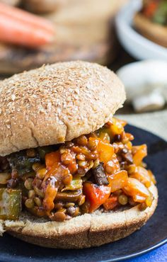 Vegetarian Sloppy Joes made with lentils and mushrooms.