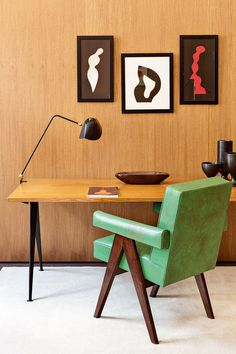 Collector Emmanuel de Bayser's Berlin apartment, desk | Jean Prouvé Pierre Jeanneret Serge Mouille Alexandre Noll Hans Arp art interior